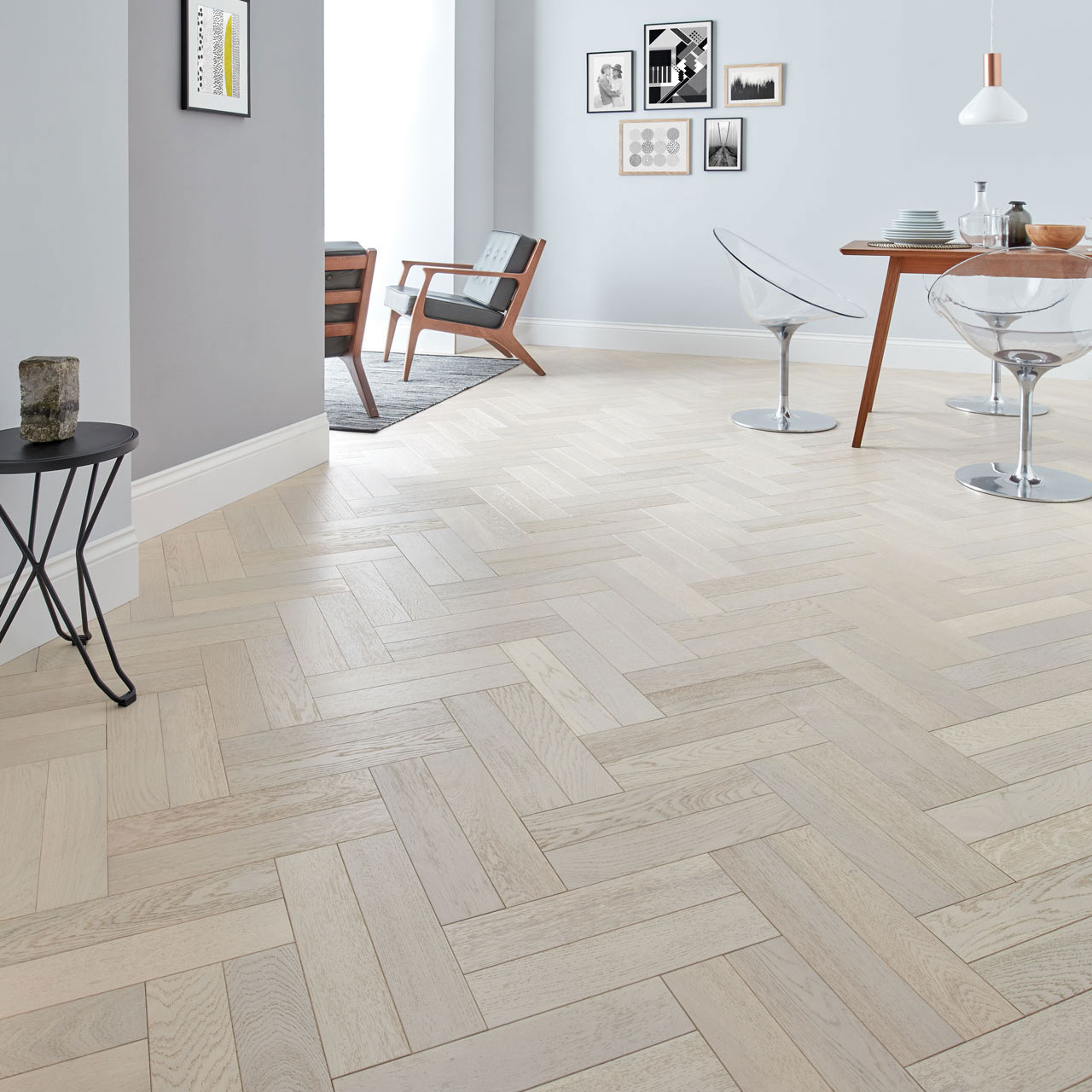Goodrich whitened oak parquet flooring woodpecker flooring for Flooring products