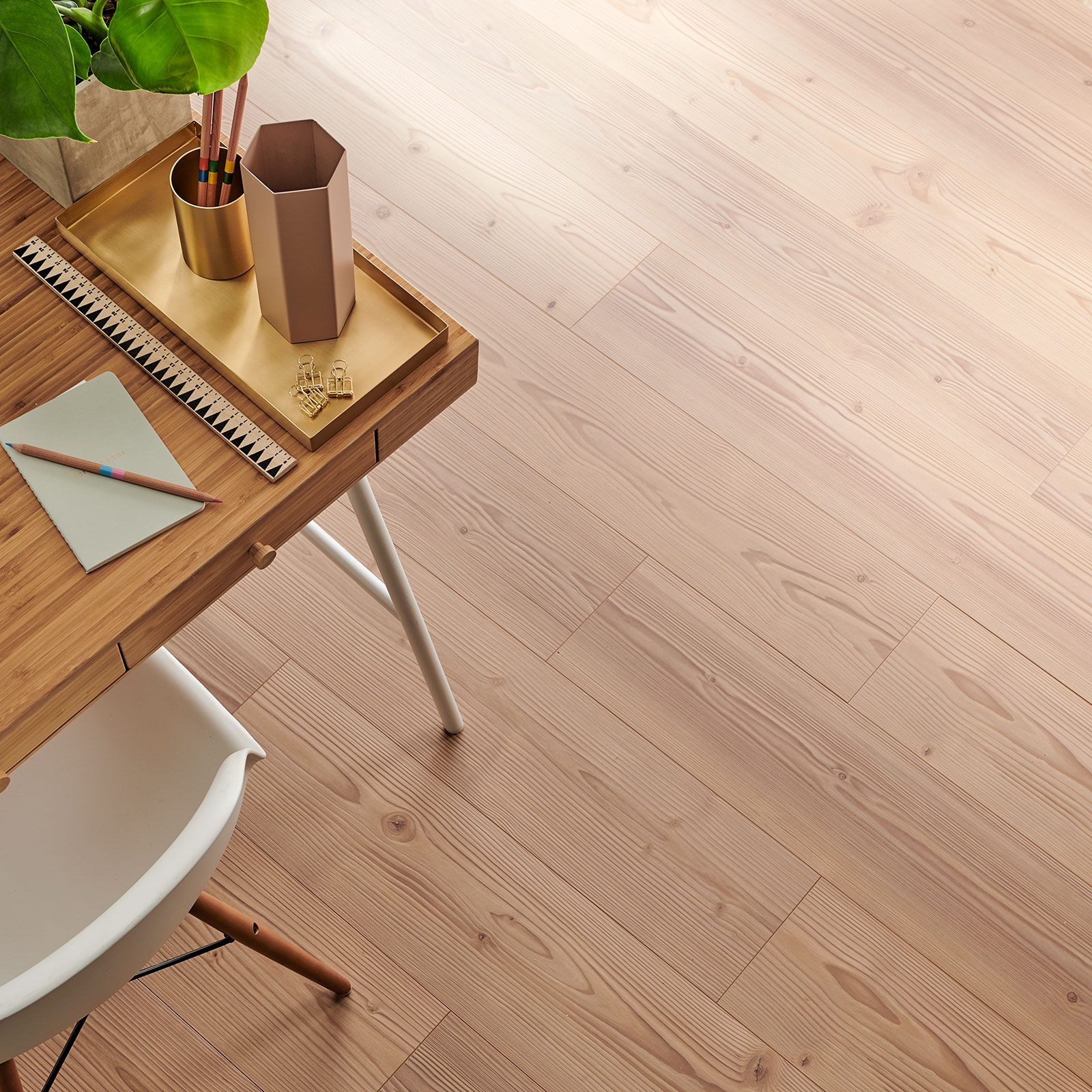 pine laminate flooring in an office