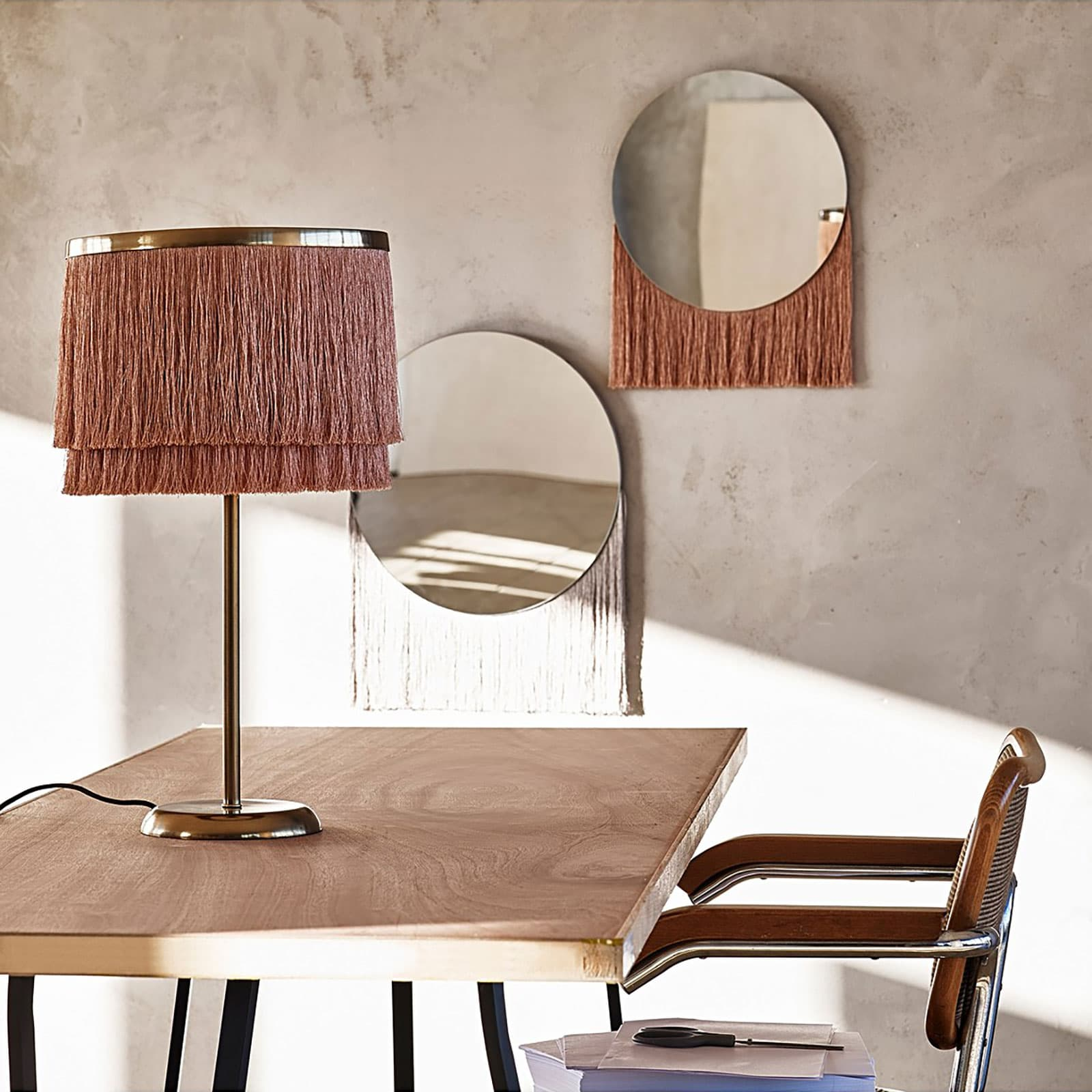 fringed lampshade and mirror from oliver bonas