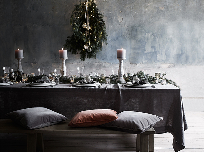 christmas table decor in shades of grey