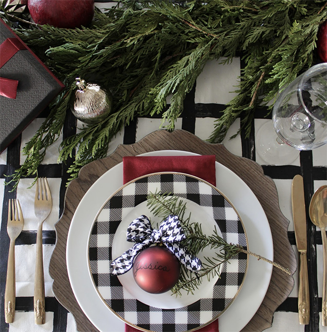 christmas table decor with plaid patterns