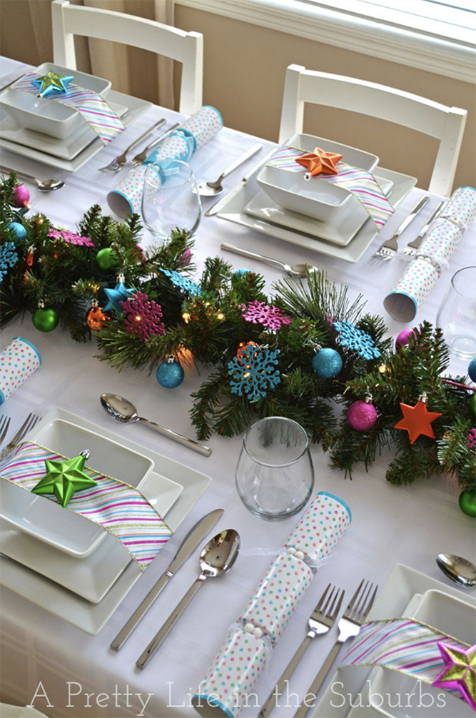 christmas table decor in bold and beautiful colours