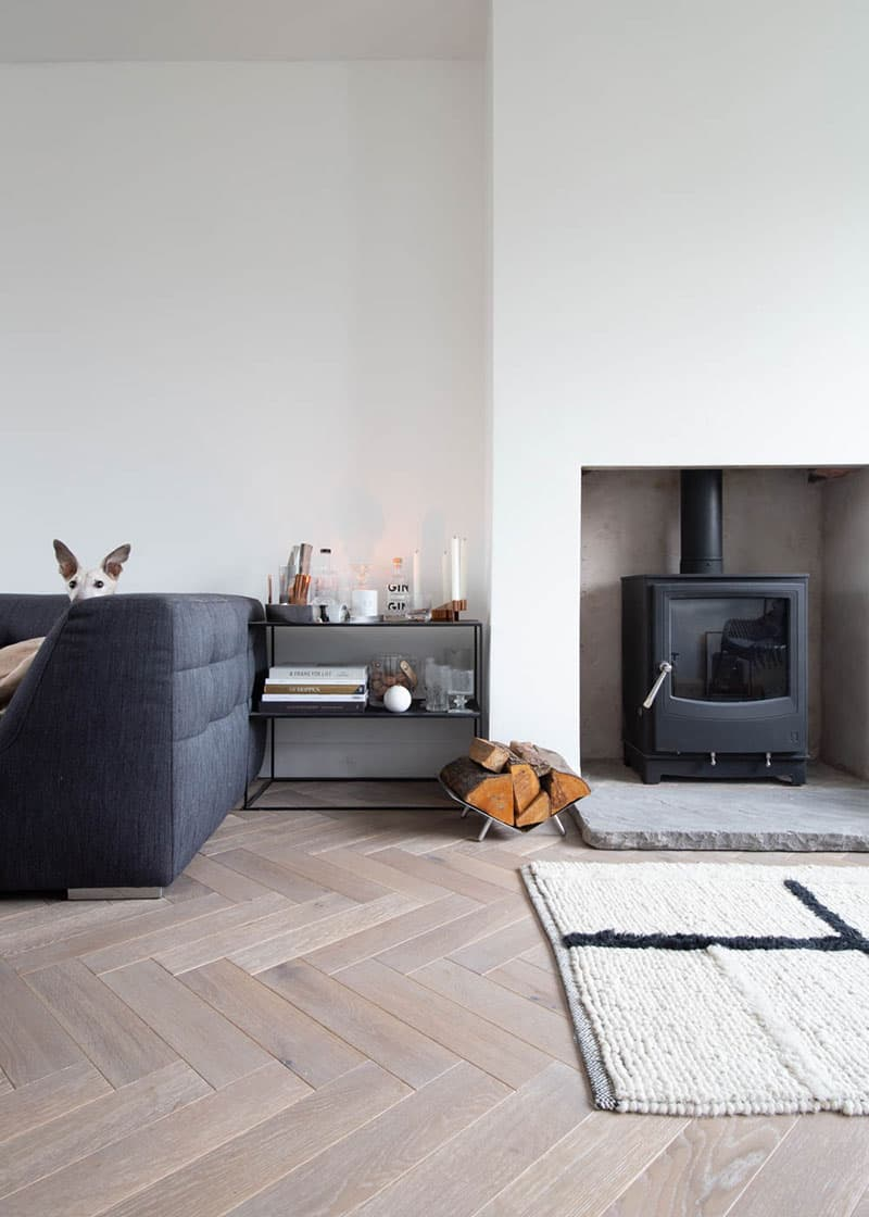 grey parquet flooring in living room