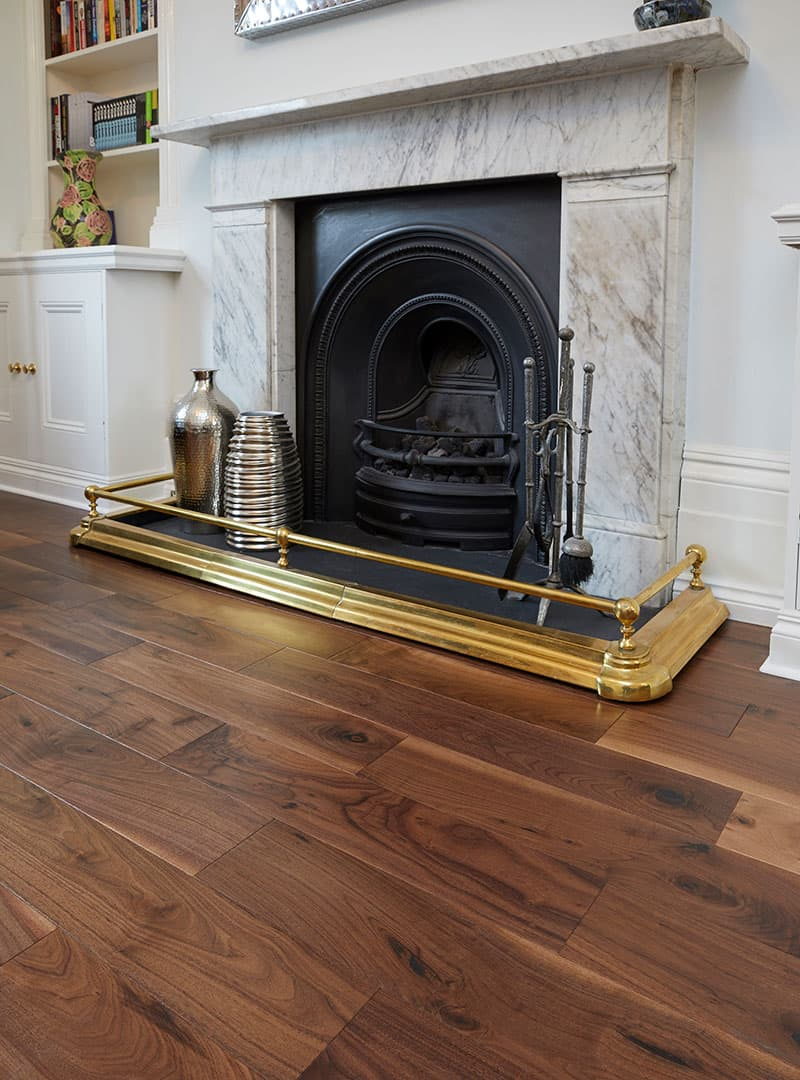 walnut flooring with fireplace