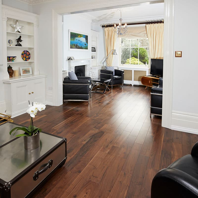 walnut flooring in living room