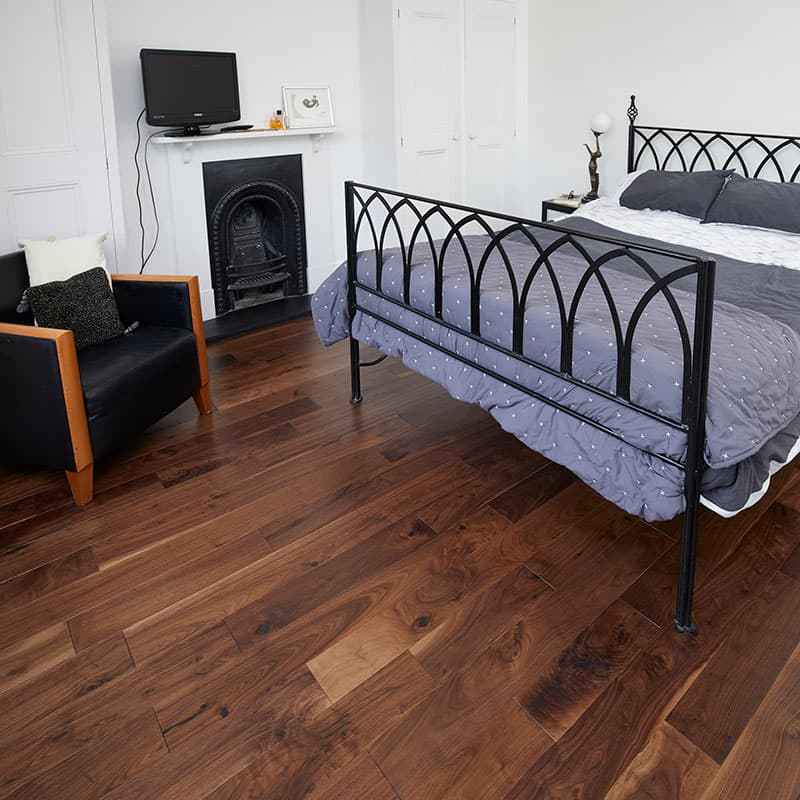 walnut flooring in bedroom