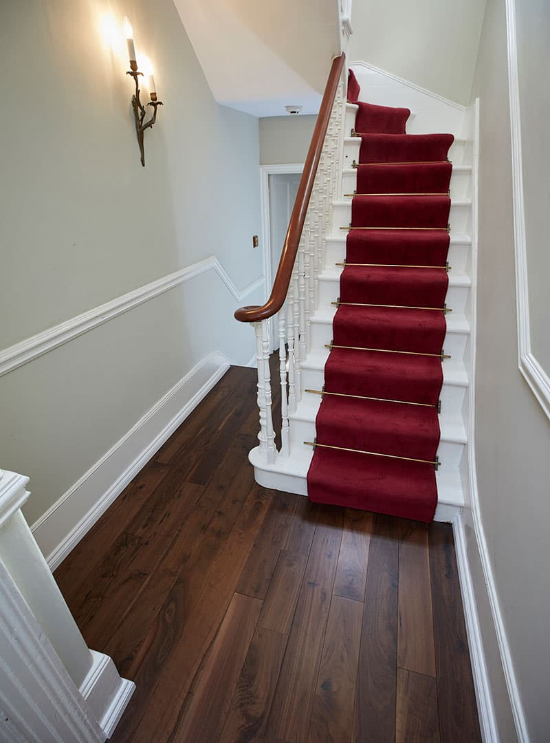 walnut flooring in hallway