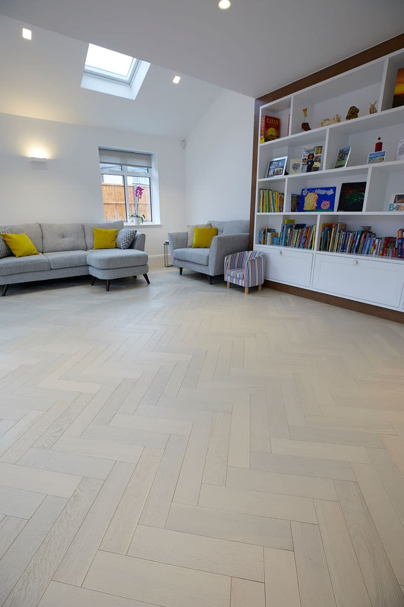 white oak flooring in living area