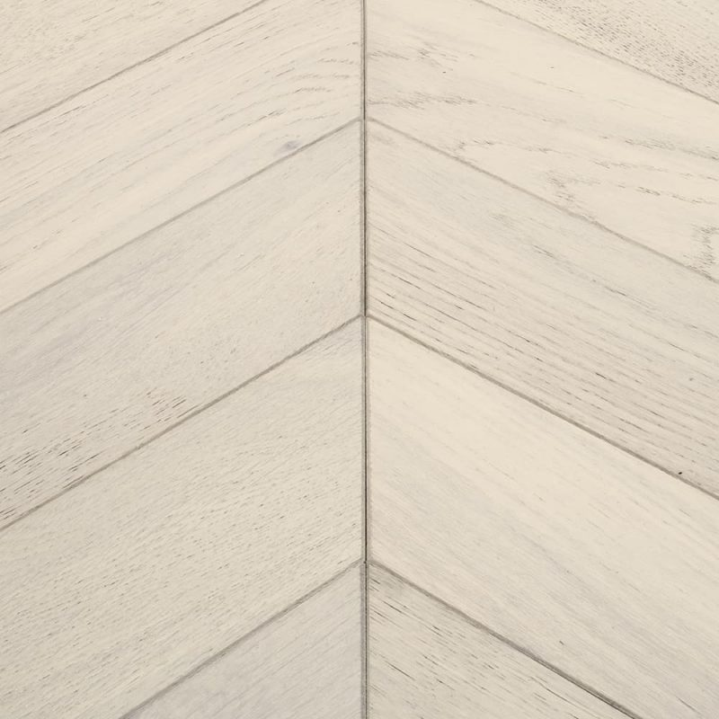 white chevron parquet flooring
