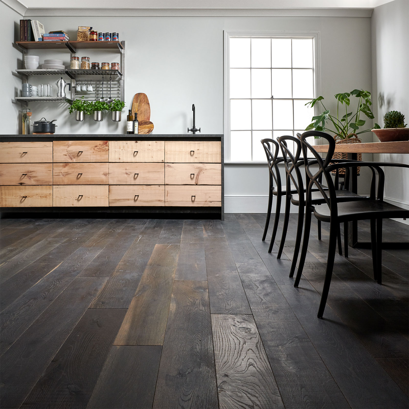 black reclaimed wood flooring cellar oak image